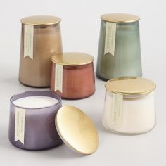 Gold Lid Glass Filled Jar Candle Collection Candle inspiration for Karen Gilbert. Mason Jar Candles, Diy Candles, Soy Wax Candles, Glass Candle, Scented Candles, Candle Gifts, Candle Branding, Candle Packaging, Candle Labels