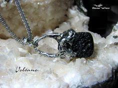 "Basaltic lava pendant, natural black lava pendant ""Volcano"", lava jwelry, healing basaltic lava pendant by DianaSilvanStone on Etsy"