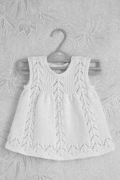 "Knitted: cute and simple. ""Check Ravelry for this pattern."", ""Gorgeous white knitted dress for babies"", ""Love the simple dress."", ""Knitted: cute a Baby Knitting Patterns, Knitting For Kids, Baby Patterns, Free Knitting, Knitting Projects, Crochet Patterns, Knit Baby Dress, Knitted Baby Clothes, Baby Cardigan"