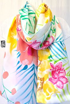 Hand Painted Large Silk Shawl Scarf Tropical by SilkScarvesTakuyo