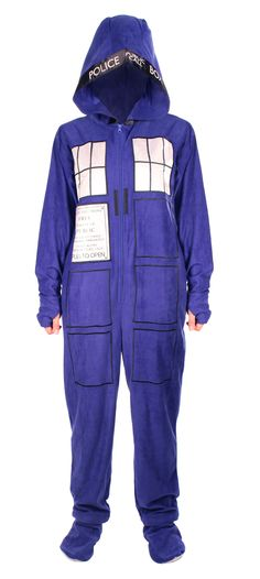 Doctor Who: Tardis Adult Onesie with Removable Feet | Doctor Who Shop In this picture they removed the face, but not the hands.