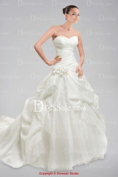 Stunning Off-the-shoulder Wedding Dress with Pleats and Pick-ups