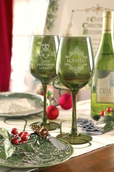 Grasslands Road Wine Glasses Set of 4 #Glass #Green #Holiday #Table #Drinkware #Cute #Kitchen #Decor