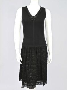 OSCAR DE LA RENTA $349.99 Black V Neck Knit Dress with Pointelle Skirt Size Large #OscardelaRenta