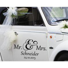 Autoaufkleber Hochzeit - Mr. & Mrs. und Nachname