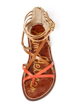 Orange / tan / gold. Love the mixed-media look of these sandals.