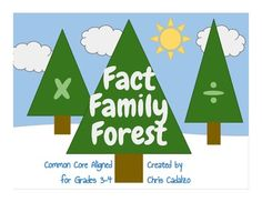 Fact Family Forest- multiplication and division tree-shaped fact triangles