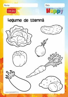 Preschool Worksheets, Preschool Learning, Kindergarten Activities, Preschool Activities, Fall Coloring Pages, Coloring Pages For Kids, Vegetable Crafts, Fruits For Kids, Kids Poems