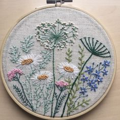 Flowers and herbs embroidery hoop art gift for her / Floral hand stitched wall art / Framed botanical home decor / Fiber art room decoration Wildblumen Hoop Art / Stickrahmen Art / Hoop Art / Floral Crewel Embroidery Kits, Embroidery Flowers Pattern, Silk Ribbon Embroidery, Vintage Embroidery, Embroidery Designs, Embroidery Thread, Machine Embroidery, Floral Embroidery, Eyebrow Embroidery