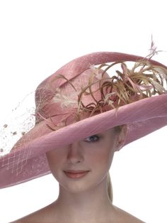 Occasion.009 - Occasion Hat - Large Pale Pink French Strawcloth Brim & Crown - Feather Accents - C28 - Made To Order On Premise