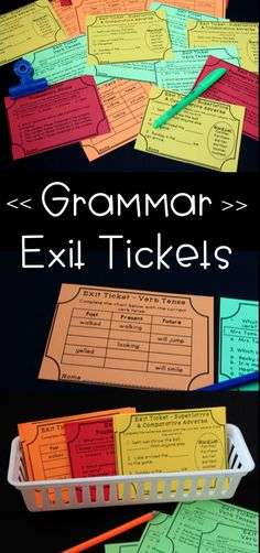 Grammar Exit tickets covering parts of speech such as nouns, verbs, pronouns, adjectives, and more! Great grammar quick checks and test prep.