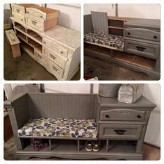 Turn an Old Dresser into a Mudroom Bench.these are the BEST DIY Upcycled & Repurposed Ideas! Over 20 of the BEST Upcycled Furniture Ideas - ways to turn Trash into Treasure! These ideas are a great way to repurpose old furniture & very easy to make! Refurbished Furniture, Repurposed Furniture, Furniture Makeover, Painted Furniture, Furniture Storage, Dresser Repurposed, Bench Storage, Shoe Storage, Dresser Makeovers