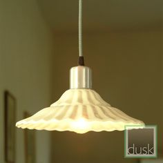 Our Nantes Pendant Light In Cream Has Scalloped Edges And Ceramic Ceiling Rose With A Meter Black White Braided Cord