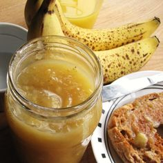 Recipe for Banana Butter from Knowing Your Farmers.  Easy and really good.  Great way to use up really ripe bananas.