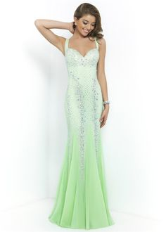 Sparkly Green Long Beaded Blush 9913 Low Back Prom Dress with Straps