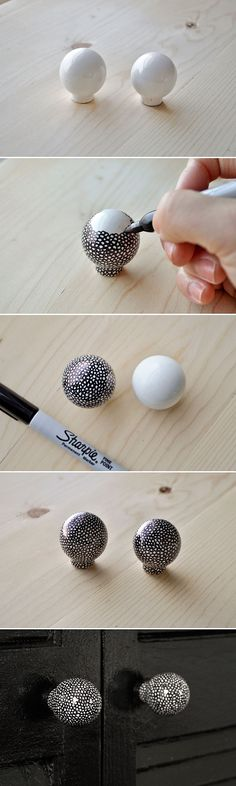 DIY :: use a sharpie to draw little circles on plain white ceramic knobs for a fun speckled look Sharpie Projects, Sharpie Crafts, Sharpie Art, Diy Projects To Try, Craft Projects, Sharpies, Ideias Diy, Diy And Crafts, Arts And Crafts