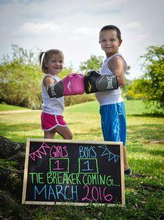 Third  baby announcement.  Baby announcement idea.