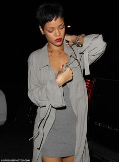 Rihanna - Grey coat and skirt love this chic look on her ! SarahJM