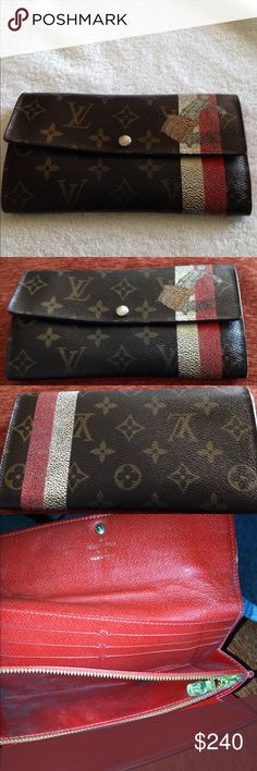 Louis Vuitton Wallet Authentic Louis Vuitton Wallet. No major issue with wallet. Please see pictures. The coin sections has stains as it has been used. Size. The H= 3.9 D= 0.8 W = 7.2  Made in France. Code CT1000. Louis Vuitton Bags Wallets