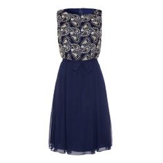 Almost Famous Gold Lace Bodice Navy Dress