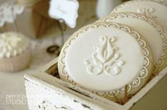 vintage french cookies are perfect for weddings, tea parties, birthdays, or any other special occasion! Iced Cookies, Biscuit Cookies, Cute Cookies, Royal Icing Cookies, Cupcake Cookies, Sugar Cookies, French Cookies, Iced Biscuits, French Desserts