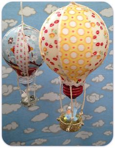 hot air balloons from old lightbulbs