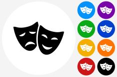 Theatre Comedy and Tragedy Icon on Flat Color Circle Buttons vector art illustration