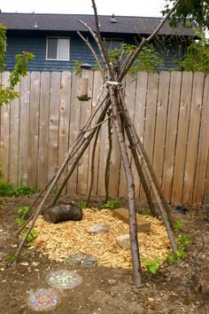The bean teepee has been planted and is starting to grow :)