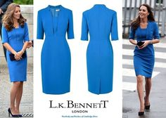 August 5, 2014:  For today's Tower of London poppy installation, the Duchess of Cambridge wore a snorkel blue 'Detroit Notch Collar Fitted Dress' by L.K. Bennett