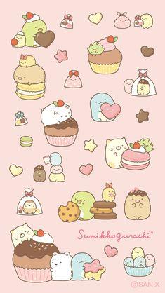 Kawaii Doodles, Cute Doodles, Kawaii Art, Wallpaper Sweet, Kawaii Wallpaper, Kawaii Stickers, Cute Stickers, Sumiko Gurashi, Cute Animal Drawings Kawaii