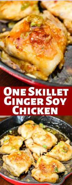 These Ginger Soy Chicken thighs are made in one skillet and simmered in the most delicious asian sauce. This 20 minute meal is perfect for dinner! Chicken Leg Recipes, Soy Chicken, Yum Yum Chicken, Turkey Recipes, Chicken Legs, Easy Dinner Recipes, Great Recipes, Easy Recipes, Spicy Recipes