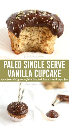 Single Serve #Paleo Vanilla Cupcake with Chocolate Protein Frosting #GlutenFree via FitFoodieFinds.com