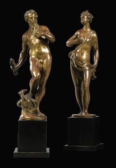 Italian bronze figures of Jupiter and Juno.