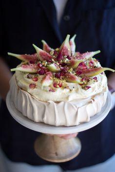 Arabian inspired Brown Sugar Pavlova with Rose, Fig, Pomegranate & Pistachio