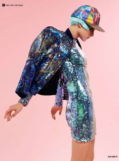 Futuristic Pastel Fashion dress reflective hat jacket cap irredescent