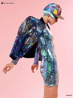 Futuristic Pastel Fashion dress reflective hat jacket cap #iridescent #rainbowsparklesparkle #seapunk #fashion #futuristic #holographic #seafoam