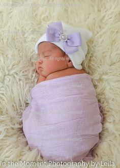 Newborn Baby Hat - White with Lavender Bow (newborn hospital hat 98a91ea26d9