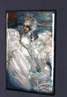 Russian lacquer decorative panel fairy Swan Princess  Russian