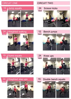 The four exercises in circuit one will be repeated until the target seven minutes. Then, after a pause of 30-90 seconds, you should perform circuit two for 7 minutes. Repeat 2 times.