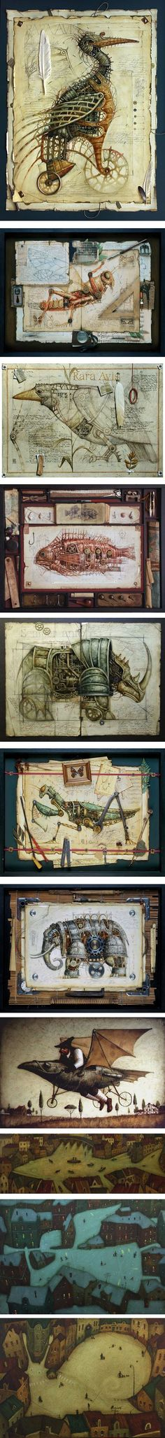 Vladimir Gvozdeff is an artist who works in both two and three dimensional media, often combining them in the same work. Steampunk Kunst, Steampunk Artwork, Collage Art, Collages, Exquisite Corpse, Weird Art, Strange Art, Mixed Media Art, Altered Art