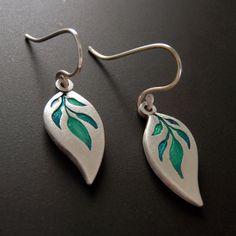 Blue Jasmine Pendant Fine Silver Leaf Shape by SilverSpiralsShop