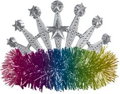 Rainbow Star Tinsel Tiara 5 1/2in x 4in - Party City