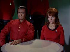 "Star Trek: The Original series. Khan(Ricardo Montalban) & Lt. Marla McGivers(Madeline Rhue in ""Space Seed"". 1966, Desilu/Paramount Pictures television."