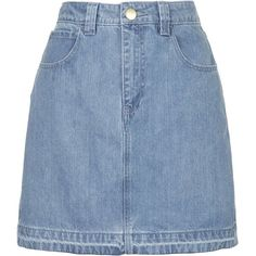 Draycott Denim Skirt by Unique (€110) ❤ liked on Polyvore featuring skirts, bottoms, denim skirt, topshop, bleach, pocket skirt, blue denim skirt and blue skirt