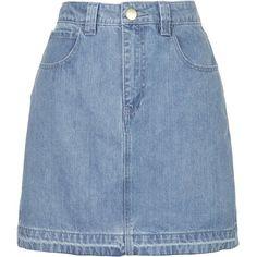 Draycott Denim Skirt by Unique ($120) ❤ liked on Polyvore featuring skirts, bottoms, denim skirt, bleach, knee length denim skirt, blue skirt, zipper skirt and blue denim skirt