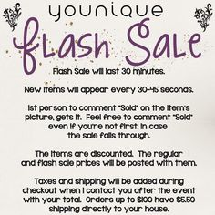 Younique flash sale rules. Feel free to use!!