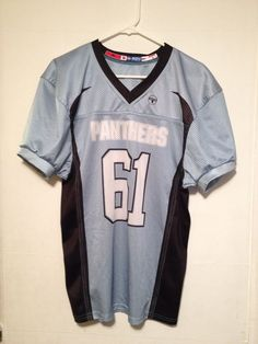 Panthers Youth Football Jersey XL ADV by Teamwork Light Blue Black  #61 #TeamworkAthletic #panthers #footballjersey #jersey #football