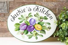 Olives and Plums kitchen wall sign, kitchen door sign for rustic Farmhouse Kitchen Decor Signs, Farmhouse Kitchen Decor, Rustic Farmhouse, Personalized Housewarming Gifts, Personalized Signs, Door Signs, Wall Signs, House Plaques, Beach House Signs