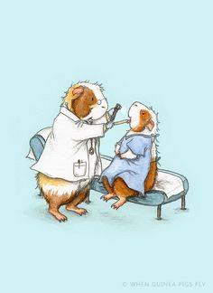 A trip to the Doctor Guinea Pig Art Print - illustration from The Guinea Pig Guide