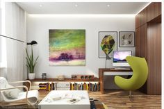 """lisamannfineart.com  oil and cold wax abstract landscape,  """"Stand and Just Be, 30x30, shown in room"""